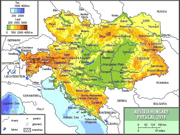 AustriaHungary Physical Map MapPorn - Austria physical map