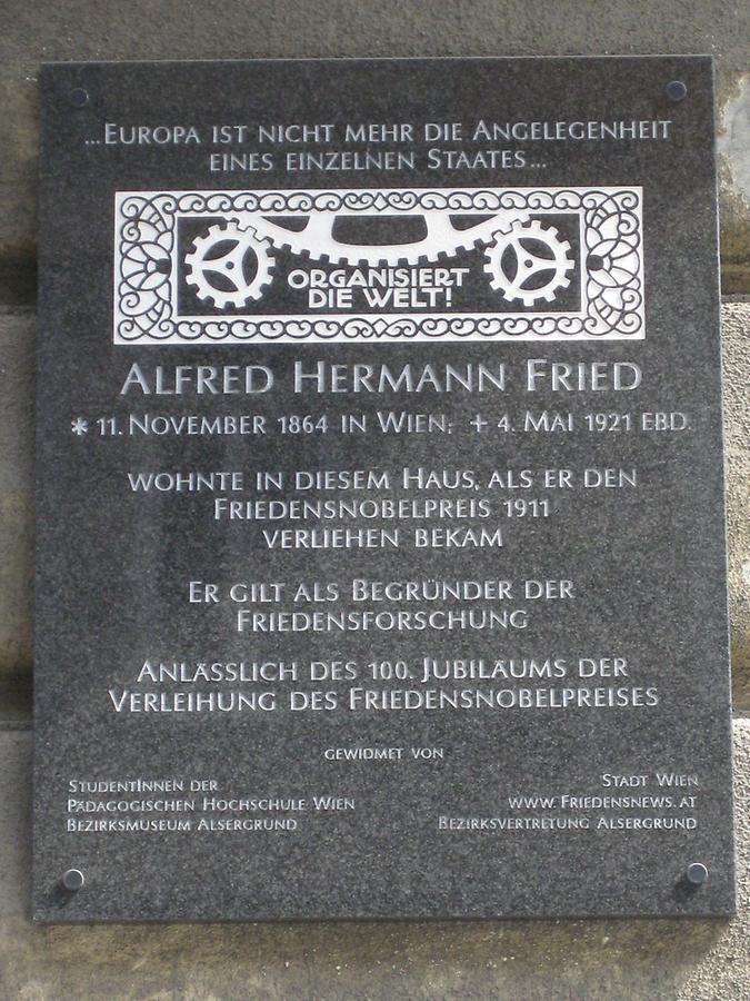 Alfred Hermann Fried Gedenktafel