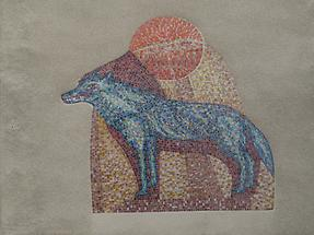 Wandmosaik 'Wolf' von Isolde Jurina 1954