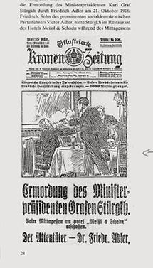 Titelseite Kronenzeitung mit Stürgkh-Attentat