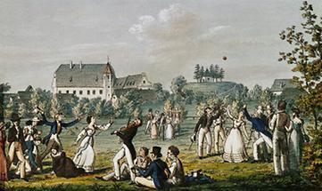 Die Schubertianer beim Ballspiel in Atzenbrugg