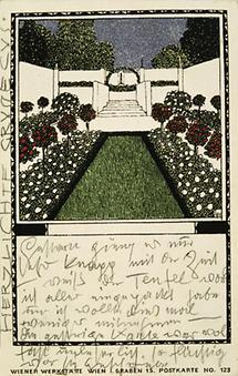Von Gustav Klimt an Emilie Flöge adressierte Postkarte