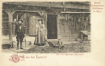Postkarte mit Darstellung eines Bauernhofs in Böhmen