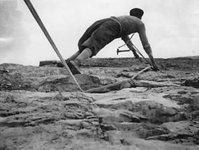 Klettern mit Seil und Nägeln