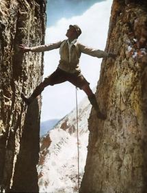 Spreiztechnik beim Klettern