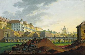 Das gesprengte Vorwerk der Burg-Bastei in Wien 1809.