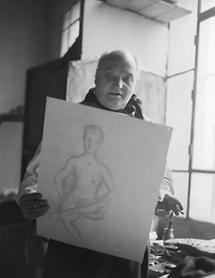 Herbert Boeckl in seinem Atelier (1)
