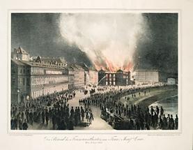 Der Brand des Treumanntheater in Wien