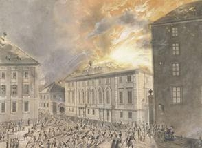 Brand des Landständischen Theaters in Graz