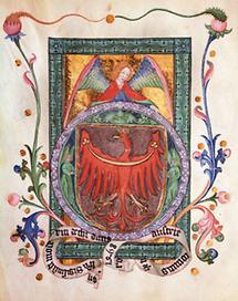 Buchmalerei mit dem Wappen Tirols