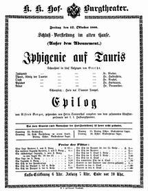 Theaterzettel des alten Burgtheater