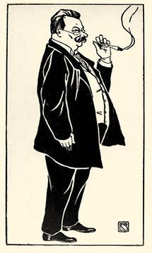 Vinzenz Chiavacci. Karikatur von Bertha Czegka