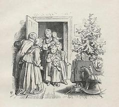 Eltern und Kinder bei der Weihnachtsbescherung