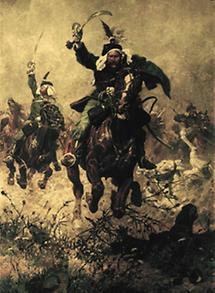Oberst Rodakowski der vor seinem Regiment reitet
