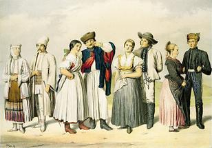 Die Bauerntrachten: Walachen, Ungarn, Slaven, Deutsche