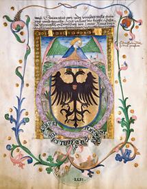 Buchmalerei mit dem Wappen Wiens