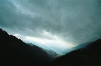 Blick vom Präbichl hinunter nach Eisenerz