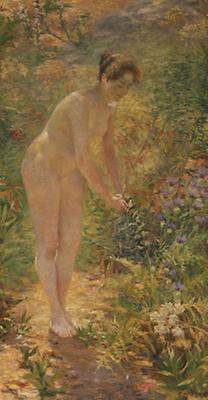 Stehender weiblicher Akt im Garten