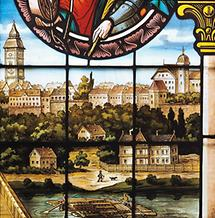 Glasfenster im Rathaus von Enns