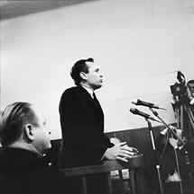Kurt Falk bei der Aussage im Olah Prozess