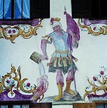 Hl . Florian an der Fassade vom Jodlbauer in Hagnberg