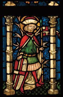 Darstellung des hl. Florian auf einem alten Glasfenster