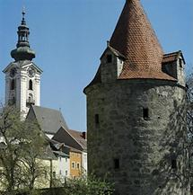 Stadtpfarrkirche und Stadtmauer von Freistadt
