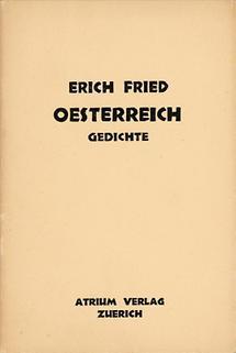 Umschlag zu Erich Frieds: Oesterreich. Gedichte.