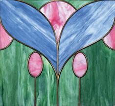Glasfenster mit stilisiertem Blumenmotiv