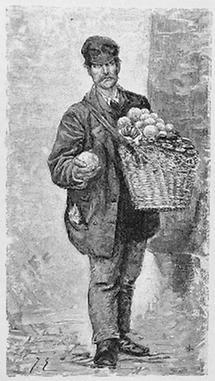Orangen verkaufender junger Gottscheer in Wien