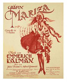 Liedflugblatt zur Operette Gräfin Mariza