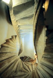 Gotische Doppelwendeltreppe in der Grazer Burg