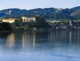 Die Greiner Stadtpfarrkirche an der Donau