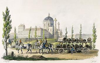 Ein Bierwagen vor der Karlskirche