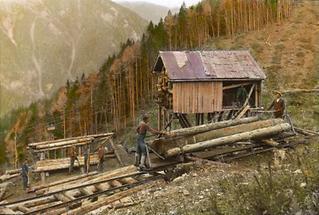 Bergstation der Holzseilbahn