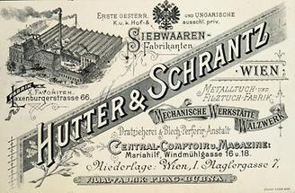 Geschäftskarte der Fabrik Hutter & Schrantz Wien