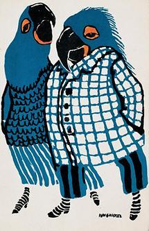 Mode-Karikatur: Zwei Papageien.
