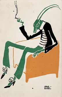 Mode-Karikatur: Grille im Fauteuil