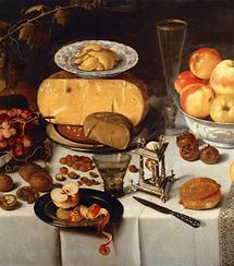 Äpfel, Käse, Obst und Geschirr. Stillleben