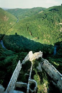 Blick vom Bergfried der Burgruine Schauenstein