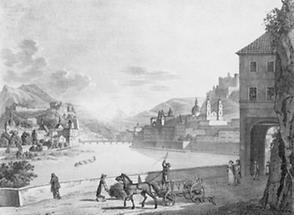 Stadt Salzburg mit dem Kapuziner und Schlossberg