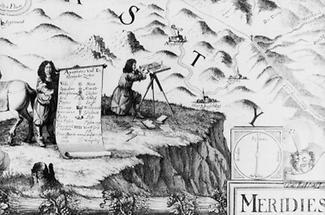 Der Kartograph Georg Mattäus Vischer bei Vermessungsarbeiten