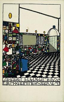 Wiener Werkstätte-Postkarte: Barraum des Cabaret Fledermaus