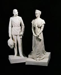 Biskuitporzellanfiguren Franz Joseph I und Elisabeth