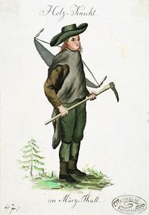 Holzknecht mit Werkzeug