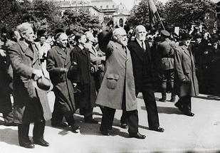 Renner, Körner, Schärf, Figl auf dem Weg ins Parlament
