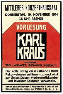 Plakat zu einer Vorlesung von Karl Kraus
