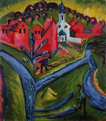 Dorf mit blauen Wegen