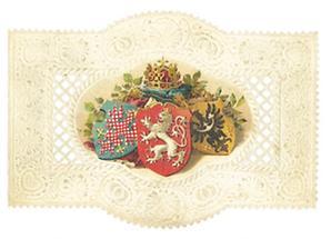 Balleinladungskarte mit den Wappen von Böhmen, Mähren und Schlesien