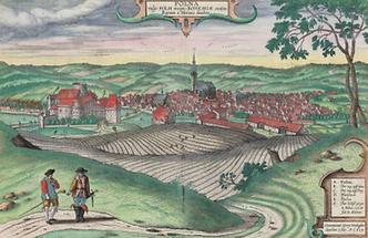 Polna vulgo Polm insign. Bohemiae civitatis Regnum a Moravia dividens (d. i. Polná in Mähren)